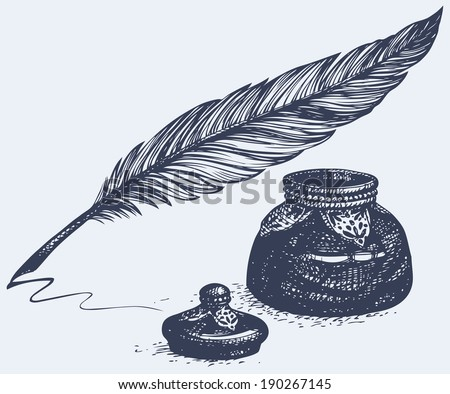 Vector freehand linear monochrome drawing of ancient pen and inkwell  - stock vector