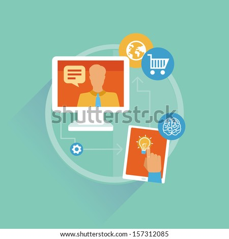 Vector freelance work progress - job inquiry, payment and development icons - stock vector