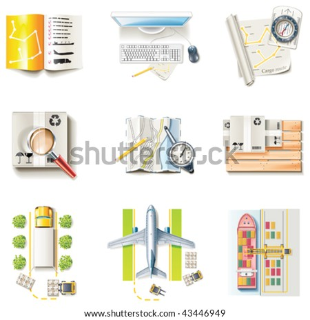 Vector freight transportation and logistic service icon set. Part 1 - stock vector