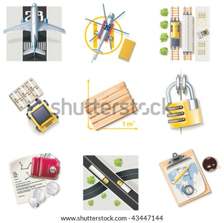 Vector freight transportation and logistic service icon set. Part 2 - stock vector
