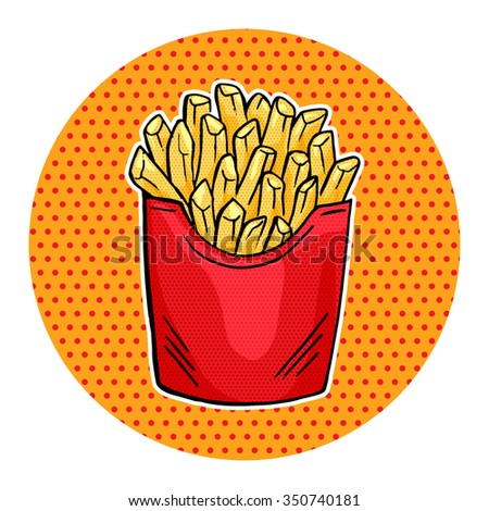 Vector French Fries in red paper Box, pop art fast food Fries icon design - stock vector