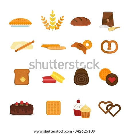 Vector fresh baked bread products icons isolated on white background. Bread icons isolated. Bakery food meal vector. Bread vector. Bread icons on white.  Bakery sweets, bread, donuts. Bread products - stock vector