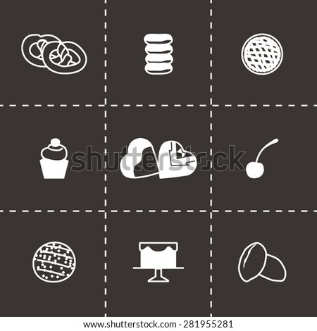 Vector Fresh bakery icon set on black background