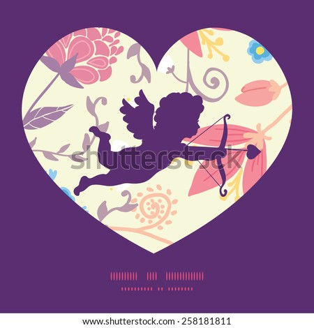 Vector fresh field flowers and leaves shooting cupid silhouette frame pattern invitation greeting card template - stock vector