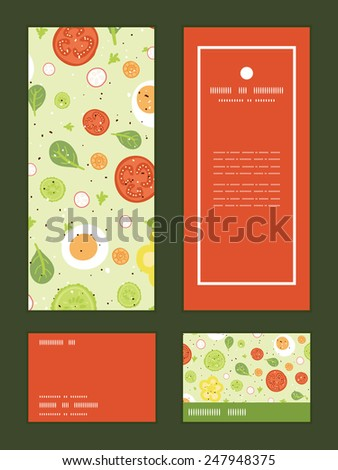 Vector fresh salad vertical frame pattern invitation greeting, RSVP and thank you cards set - stock vector