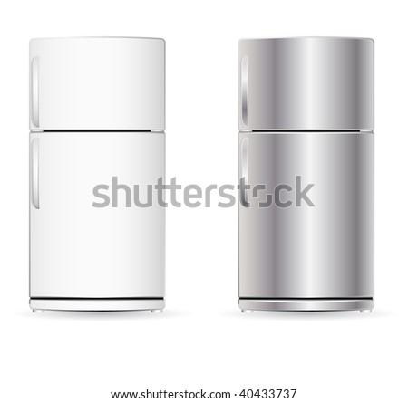 vector fridge isolated on white - stock vector