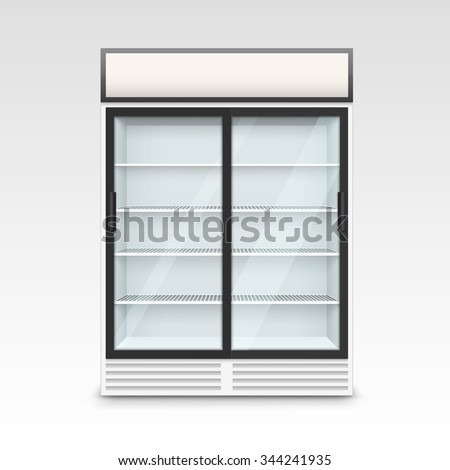 Vector Fridge Refrigerator Freezer With Transparent Glass Isolated on White Background - stock vector