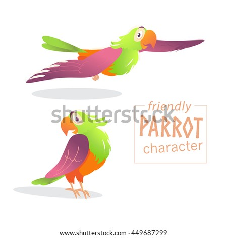 Vector friendly bird character isolated on white background. Happy and cheerful friendly parrot standing, flying. Cartoon character style. - stock vector