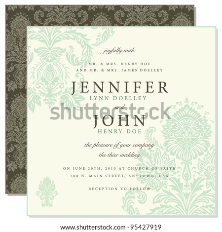 Vector Front and Back Damask Frame. Easy to edit. Perfect for invitations or announcements. - stock vector
