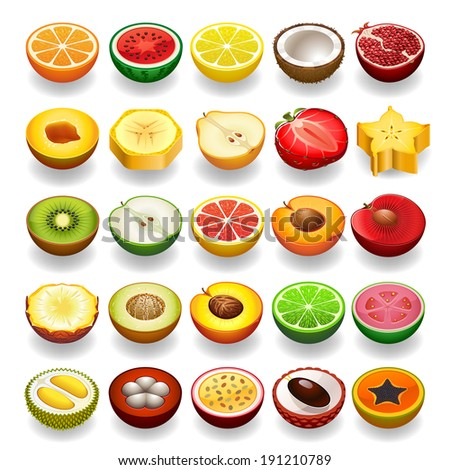 Vector fruit icon set. Perspective - stock vector