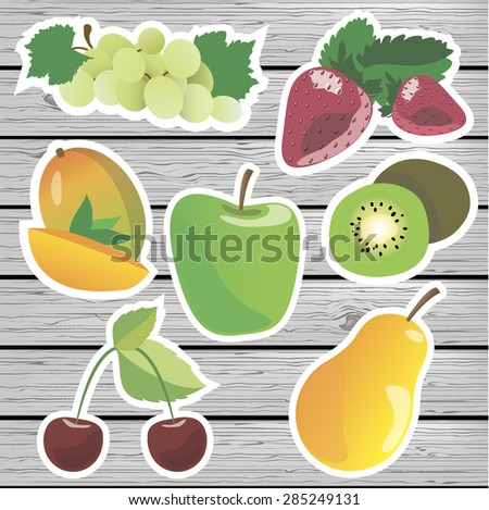 Vector fruit labels on a wooden background.  Vector fruit stickers. Vector stickers grapes, strawberry, mango, kiwi, apples, pears, cherries. - stock vector