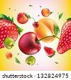 vector fruit seamless pattern - stock photo