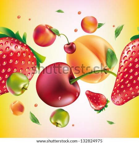 vector fruit seamless pattern - stock vector