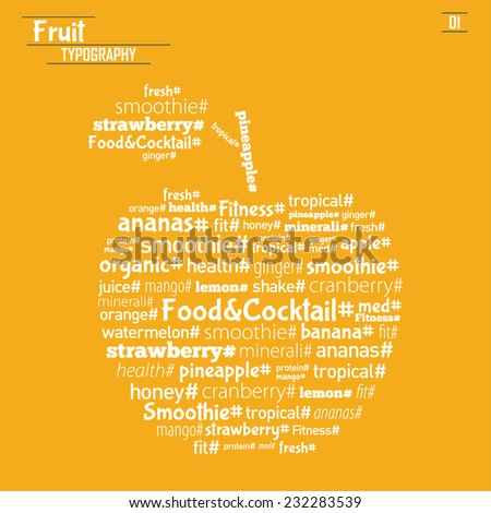 Vector Fruit Typography ( wall decor, web, poster etc) - stock vector