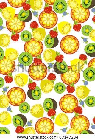 Vector fruits background - stock vector