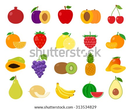 Vector fruits flat icons set isolated on white - stock vector