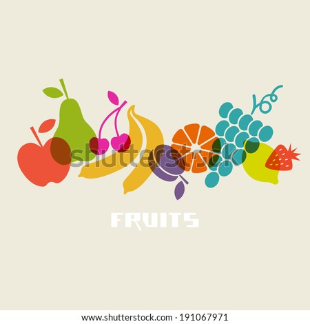 Vector fruits. Healthy lifestyle illustration for print, web - stock vector