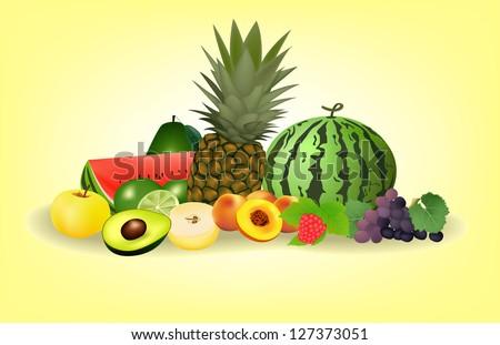 Vector Fruits set - stock vector