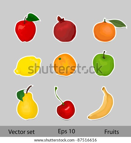 Vector fruits set - stock vector