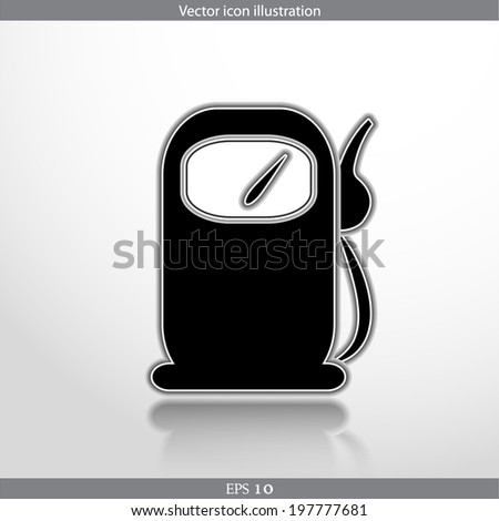 Vector fuel station web flat icon. Isolated on white. - stock vector