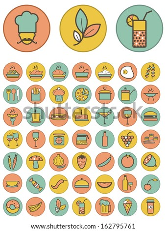 Vector full color food and drinks icons set on colorful background - stock vector