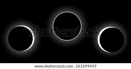 Vector full solar eclipse phases - stock vector