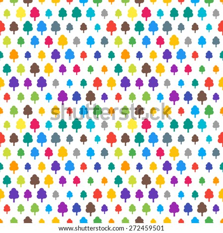 Vector funky colorful seamless pattern with random material design colors. Festive tiled tree icon pattern. - stock vector