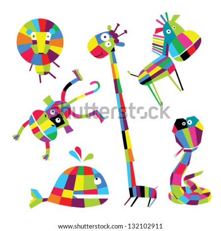 Vector funny animals - stock vector