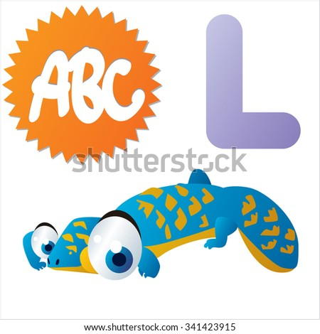 vector funny animals alphabet collection: L is for cute comic Lizard - stock vector