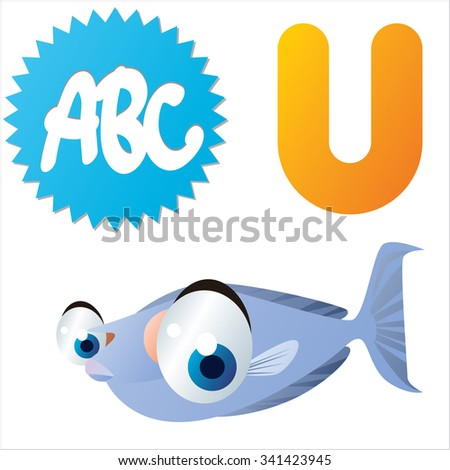 vector funny animals alphabet collection: U is for cute comic Unicornfish - stock vector