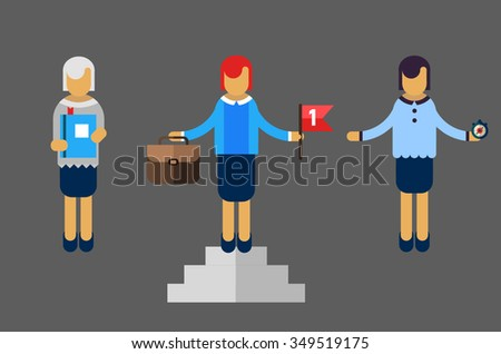 Vector funny cartoon businesswoman in various poses for use in presentations. Woman, female. - stock vector
