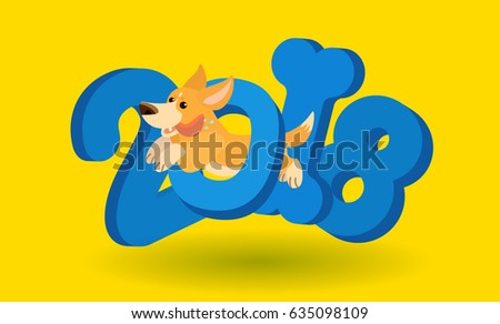 Vector funny cartoon character dog jumping trough 2018 numbers new year greeting card or front page calendar template pembroke welsh corgi breed