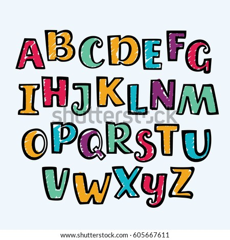 Vector funny cartoon hand drawn marker colorful uppercase alphabet. Kid style drawing font and signs ABC outline and in different colors.