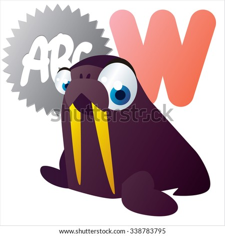 vector funny comic animal alphabet: W is for Walrus - stock vector