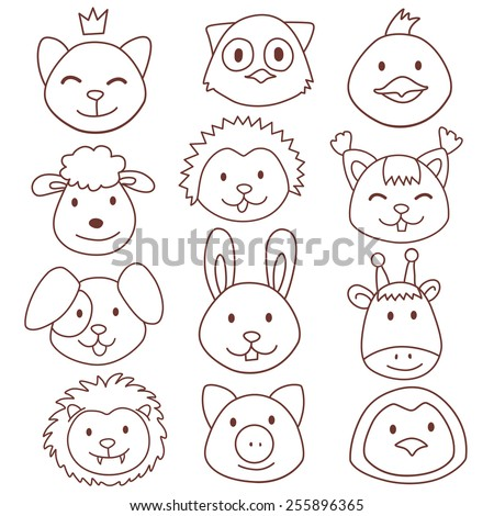 Vector funny cute animals faces stickers, wild and farm animals - stock vector