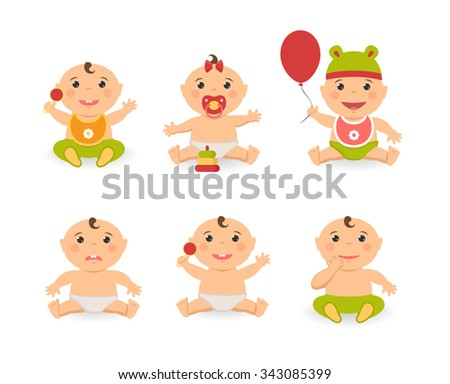 Vector funny cute baby boy and girl. Illustration of cartoon sitting babies with pacifiers toy balloon - stock vector