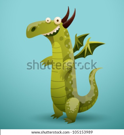 Vector Funny Dragon 1 - stock vector