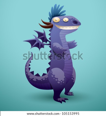 Vector Funny Dragon 4 - stock vector