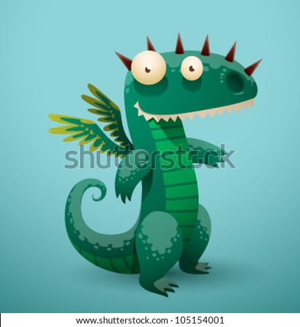 Vector Funny Dragon 3 - stock vector