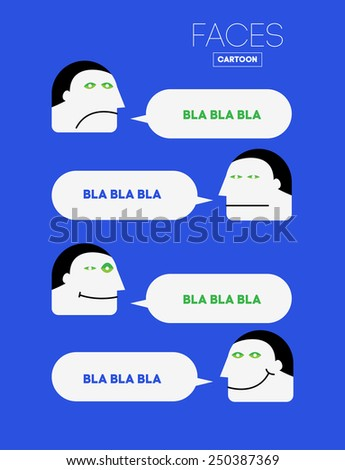 Vector Funny Emotions Head or Face on Cartoon Style with Bubbles.  Communication or Dialog. Creative Background for Flyers, Illustrations, Presentation or Magazine. - stock vector