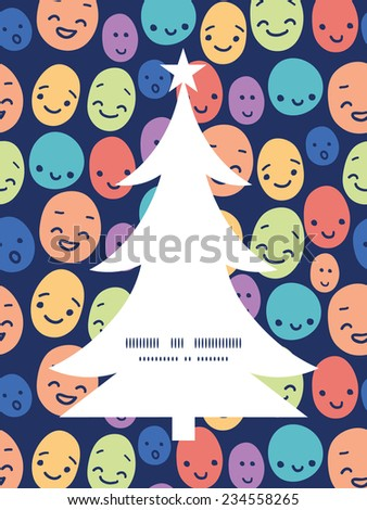Vector funny faces Christmas tree silhouette pattern frame card template - stock vector