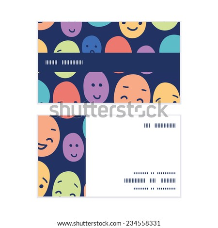 Vector funny faces horizontal stripe frame pattern business cards set - stock vector