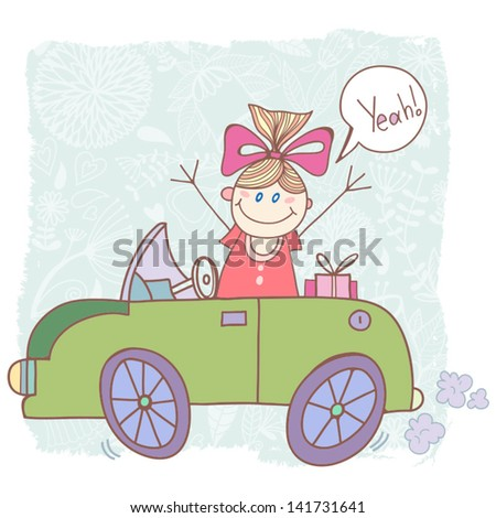 "Vector funny illustration ""Girl and car""."