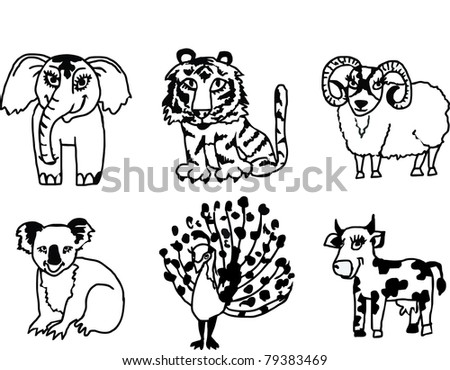 vector funny indian animals