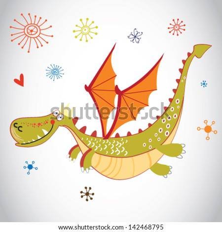 Vector funny magic cartoon dragon - stock vector