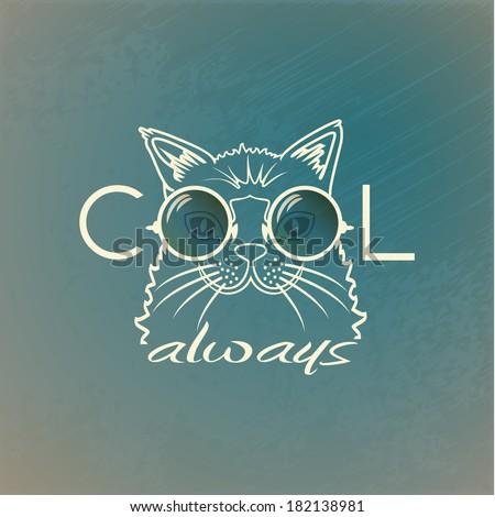Vector Funny muzzle cat in sunglasses closeup. Cool always. portrait cool cat - stock vector