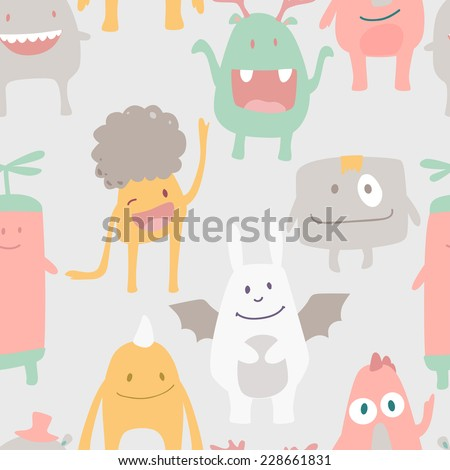 Vector funny seamless pattern with cute monsters in pastel colors - stock vector