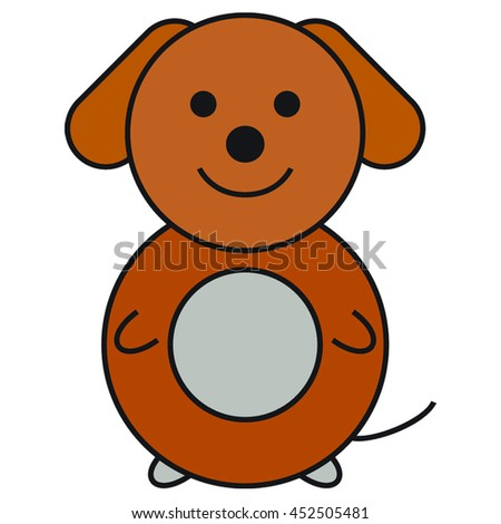 Vector funny simple dog on the white background