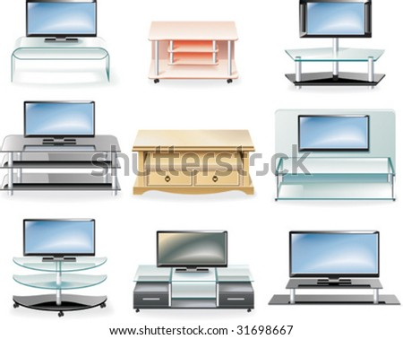 Vector furniture icon set. Tv Stands - stock vector
