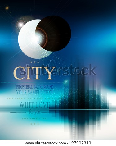 vector futuristic background with city and eclipse - stock vector